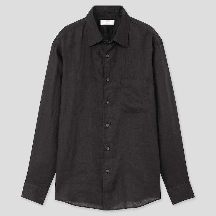 Men Premium Linen Long-Sleeve Shirt, Black, Large