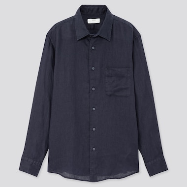 Men Premium Linen Long-Sleeve Shirt, Navy, Medium
