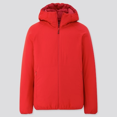 Men Light Padded Parka, Red, Medium