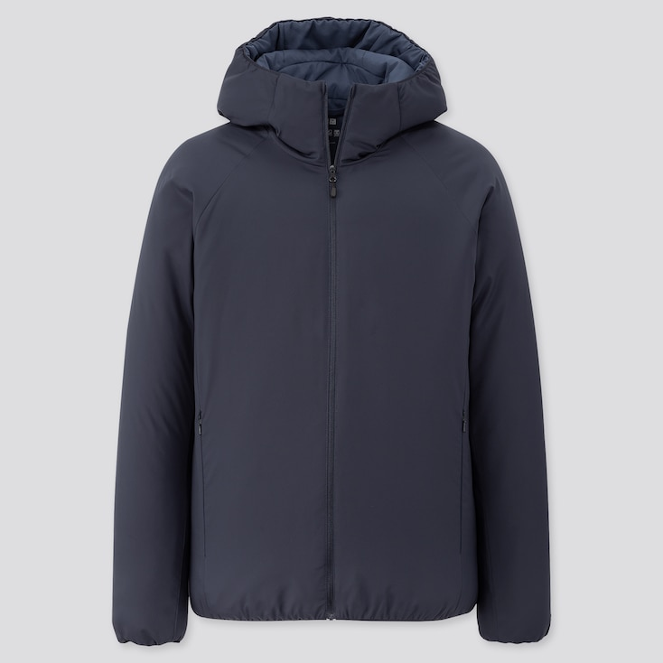 Men Light Padded Parka, Navy, Large