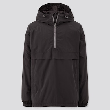 Men Oversized Anorak Parka, Black, Medium