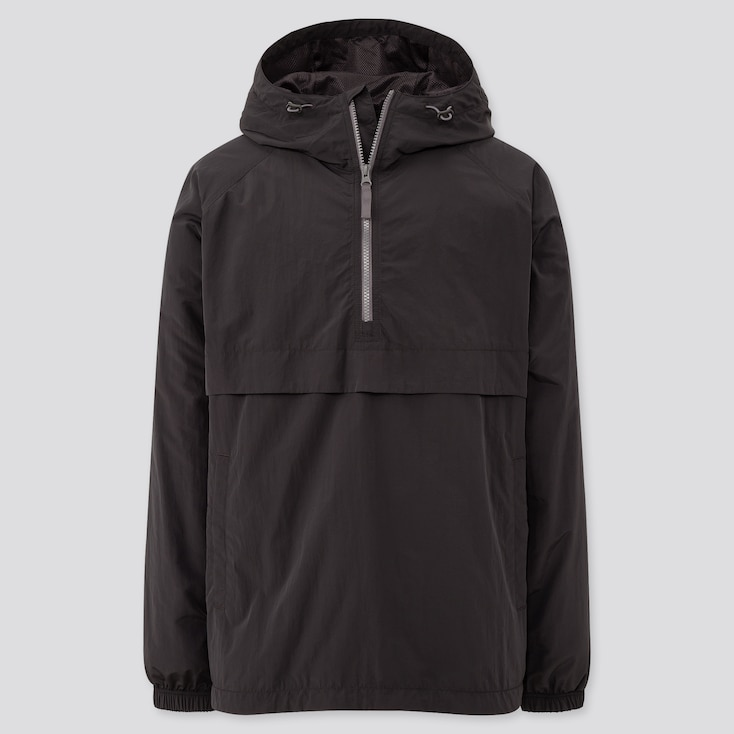 Men Oversized Anorak Parka, Black, Large