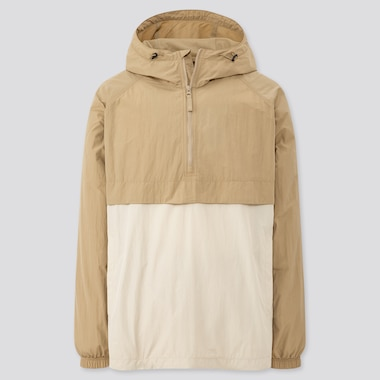 Men Oversized Anorak Parka, Beige, Medium