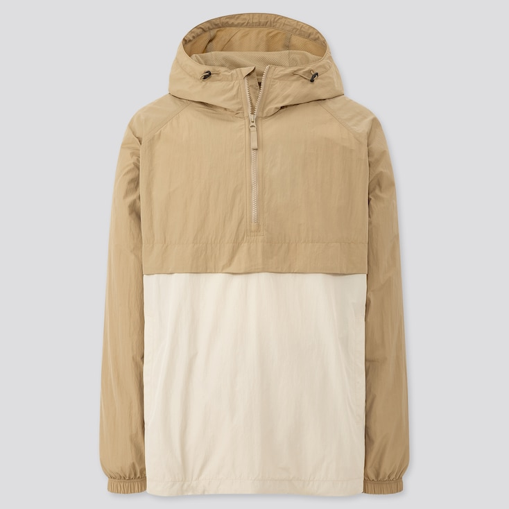 Men Oversized Anorak Parka, Beige, Large