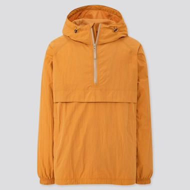 Men Oversized Anorak Parka, Yellow, Medium