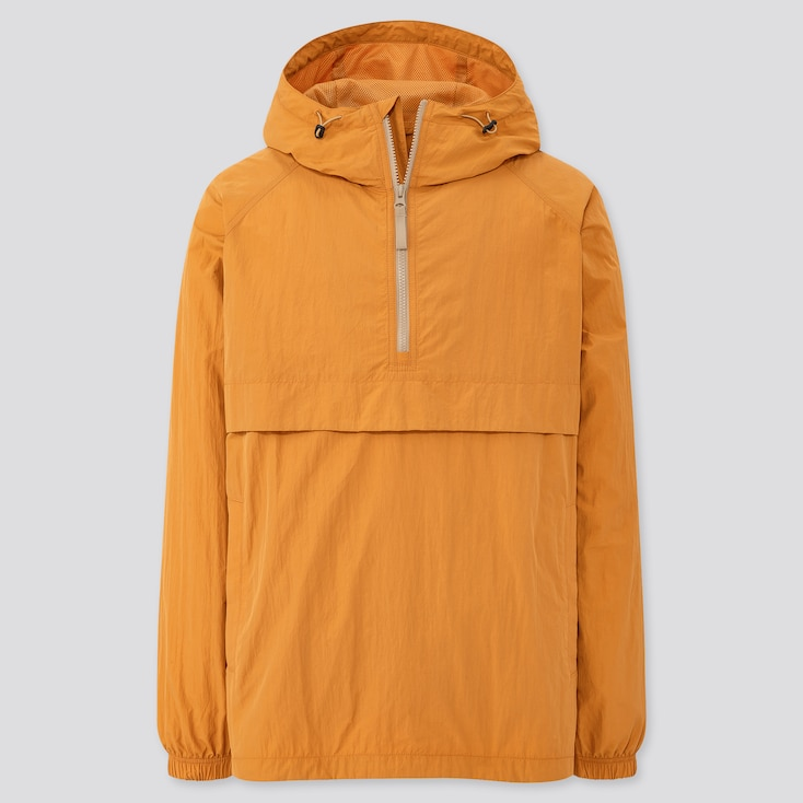 Men Oversized Anorak Parka, Yellow, Large