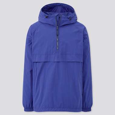 Men Oversized Anorak Parka, Blue, Medium
