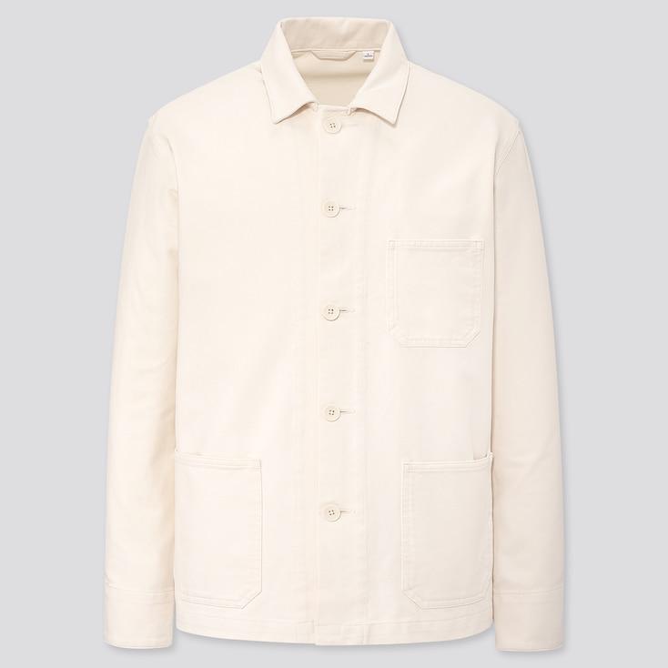 Men Washed Jersey Work Jacket, Off White, Large