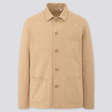 Men Washed Jersey Work Jacket, Beige, Medium