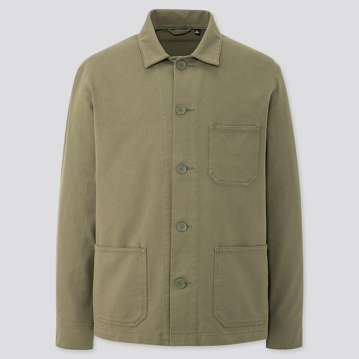 Men Washed Jersey Work Jacket, Olive, Large