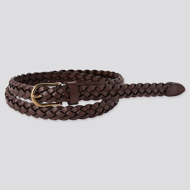 Women Mesh Skinny Belt, Dark Brown, Medium