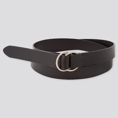 Women Double Ring Long Belt, Black, Medium