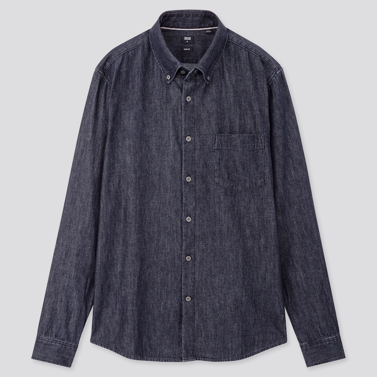 Men Denim Long-Sleeve Shirt, Navy, Large