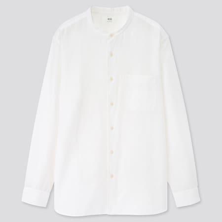 Hemd aus Leinen-Baumwollmix mit Stehkragen (Regular Fit)