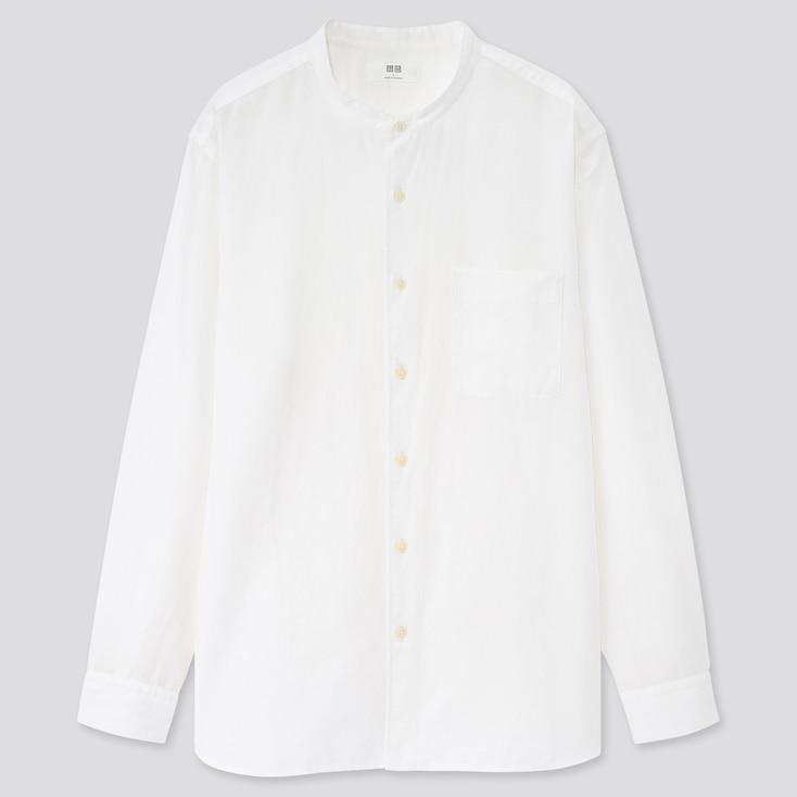 Men Linen Cotton Stand Collar Long-Sleeve Shirt, White, Large