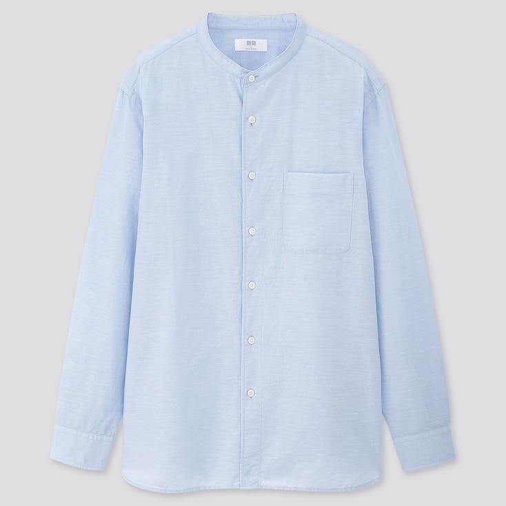 Men Linen Cotton Stand Collar Long-Sleeve Shirt, Blue, Large