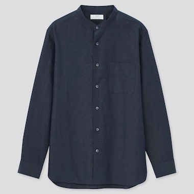 Linen Cotton Blend Regular Fit Shirt (Grandad Collar)