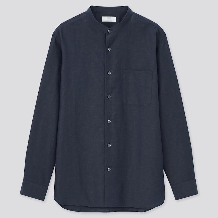 Men Linen Cotton Stand Collar Long-Sleeve Shirt, Navy, Large