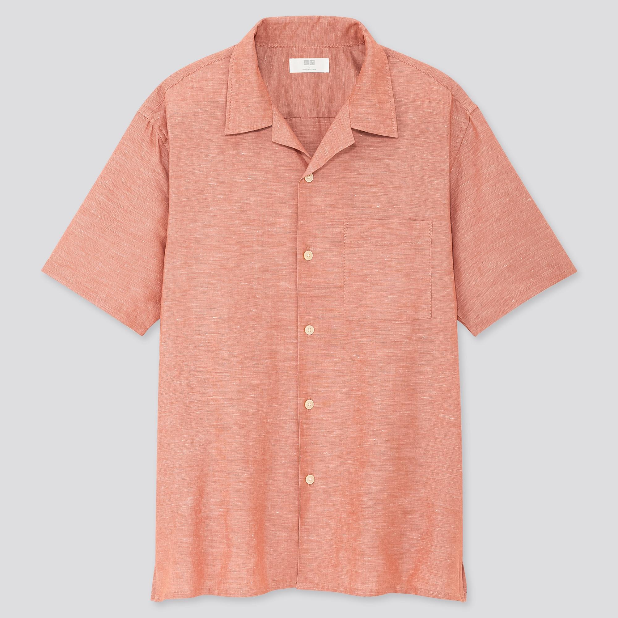 men linen cotton short-sleeve shirt