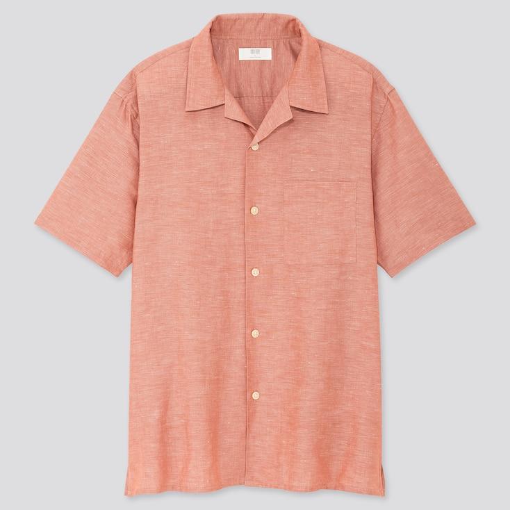 Men Linen Cotton Short-Sleeve Shirt, Orange, Large