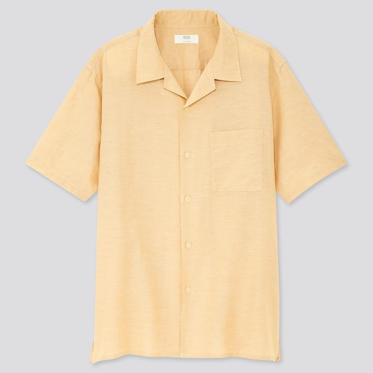 Men Linen Cotton Short-Sleeve Shirt, Yellow, Large