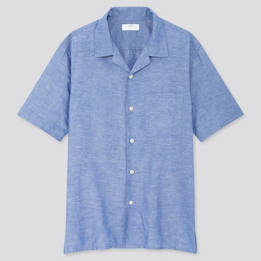 Men Linen Cotton Short-Sleeve Shirt, Blue, Medium