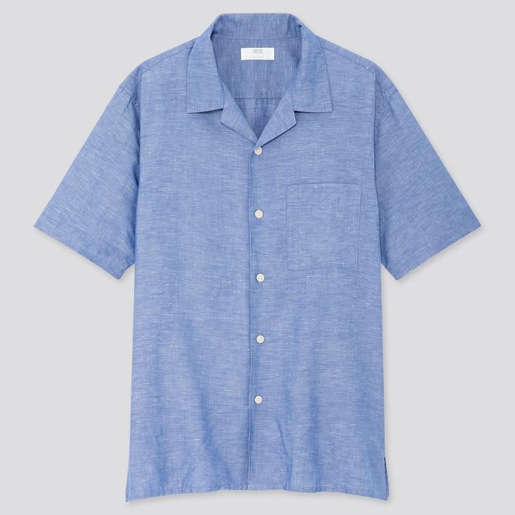 Men Linen Cotton Short-Sleeve Shirt, Blue, Large