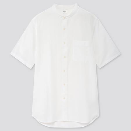Men Linen Cotton Blend Short Sleeved Shirt (Grandad Collar)