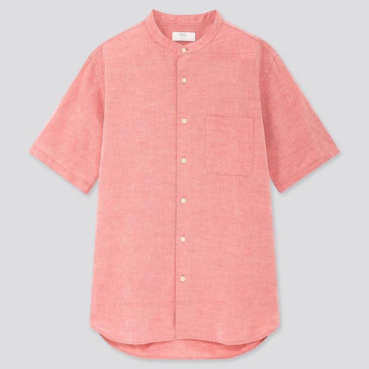 Men Linen Cotton Short-Sleeve Shirt, Red, Large