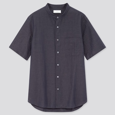 Men Linen Cotton Blend Short Sleeved Shirt (Grandad Collar)