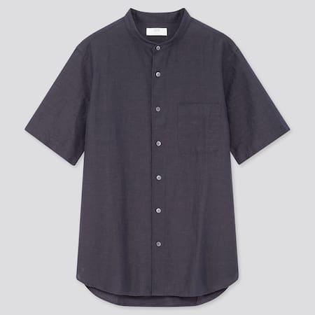 Herren kurzärmliges Hemd aus Leinen-Baumwollmix mit Stehkragen