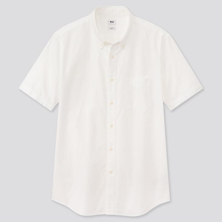 Men Oxford Slim-Fit Short-Sleeve Shirt, Off White, Large
