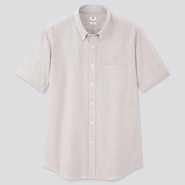 Men Oxford Slim-Fit Short-Sleeve Shirt, Gray, Medium