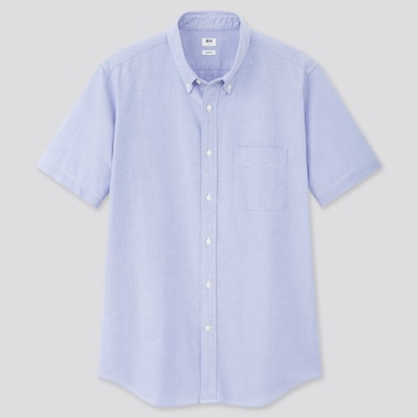 Men Oxford Slim-Fit Short-Sleeve Shirt, Blue, Medium