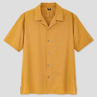 Men Open Collar Short-Sleeve Shirt, Yellow, Medium