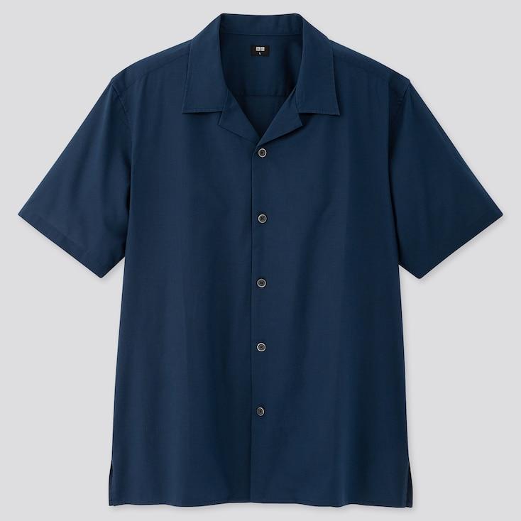 Men Open Collar Short-Sleeve Shirt, Blue, Large