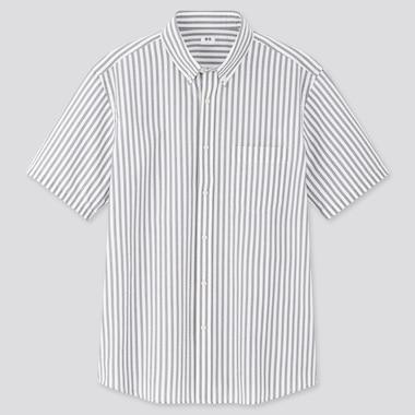 Men DRY Seersucker Striped Short Sleeved Shirt