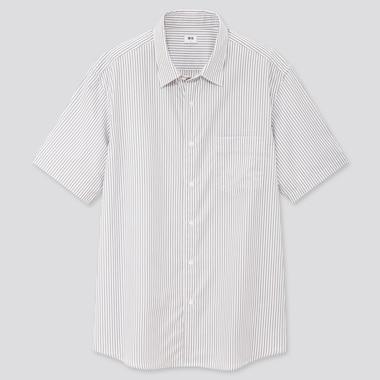 Men Extra Fine Cotton Broadcloth Regular Fit Striped Short Sleeved Shirt (Regular Collar)