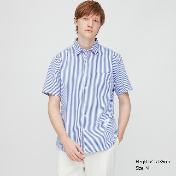Men Extra Fine Cotton Broadcloth Short-Sleeve Shirt (Online Exclusive), Blue, Large