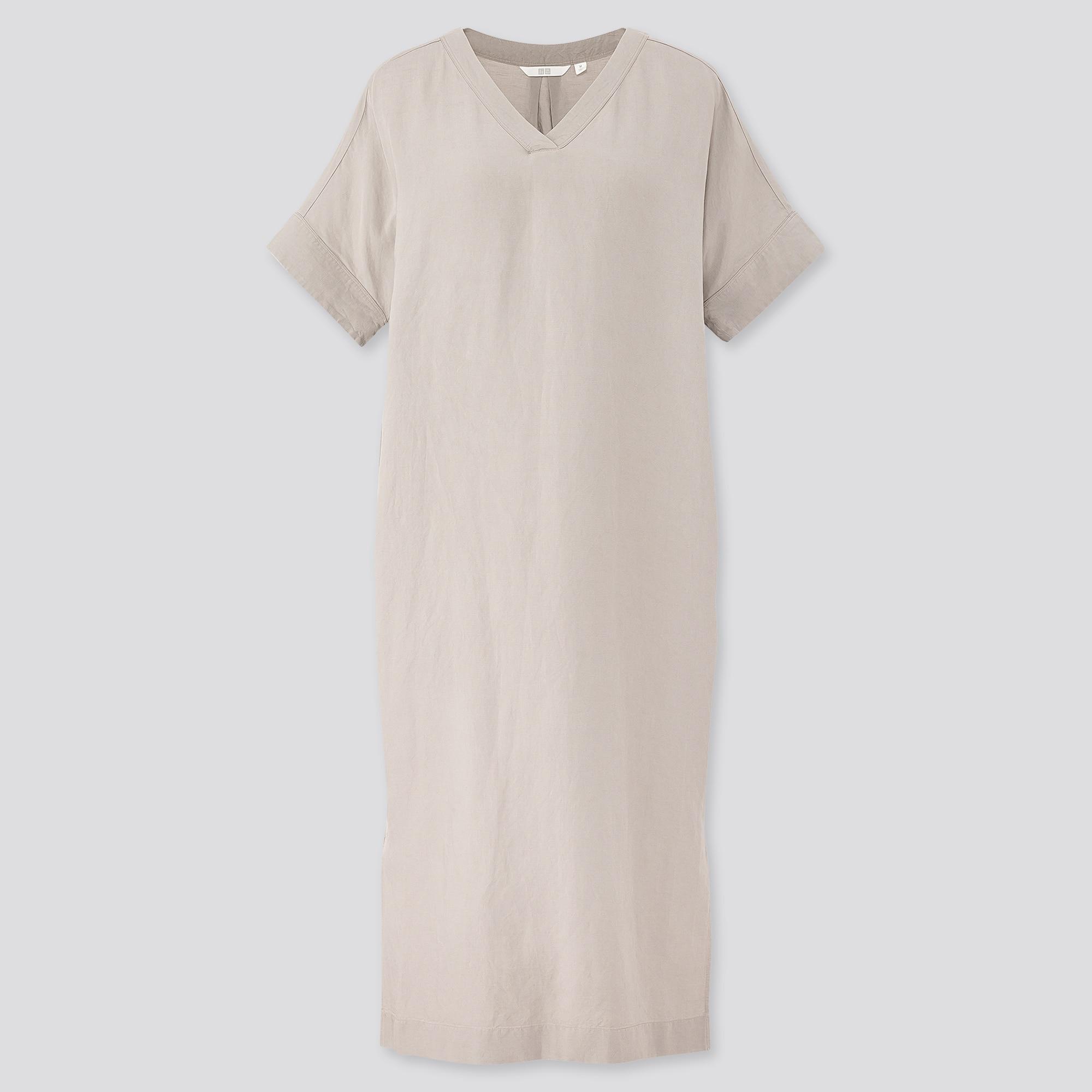 Women Linen Blend Short Sleeved Cocoon Dress