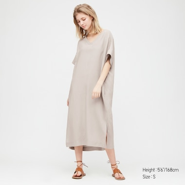 Women Linen Blended Short-Sleeve Cocoon Dress, Gray, Medium