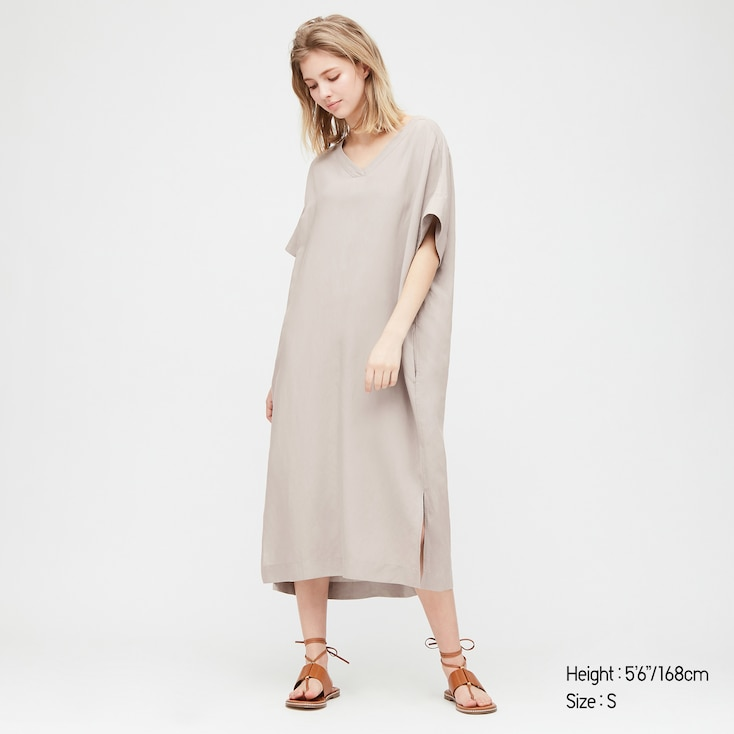 Women Linen Blended Short-Sleeve Cocoon Dress, Gray, Large