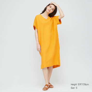 Women Linen Blended Short-Sleeve Cocoon Dress, Yellow, Medium