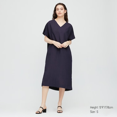 Women Linen Blended Short-Sleeve Cocoon Dress, Navy, Medium