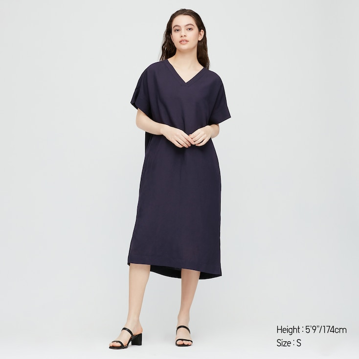 Women Linen Blended Short-Sleeve Cocoon Dress, Navy, Large