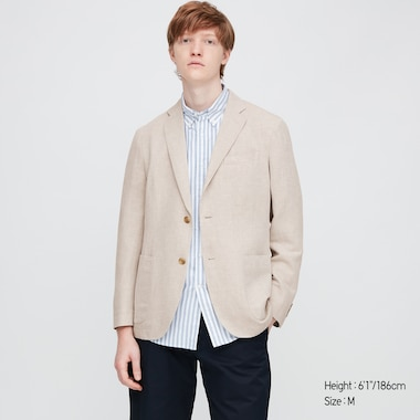 Men Linen Blended Jacket, Natural, Medium