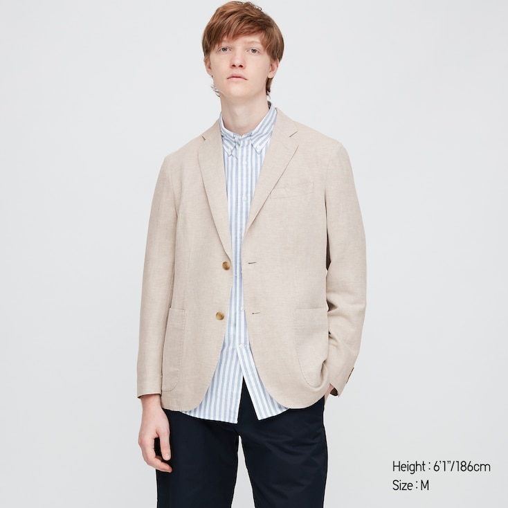Men Linen Blended Jacket, Natural, Large