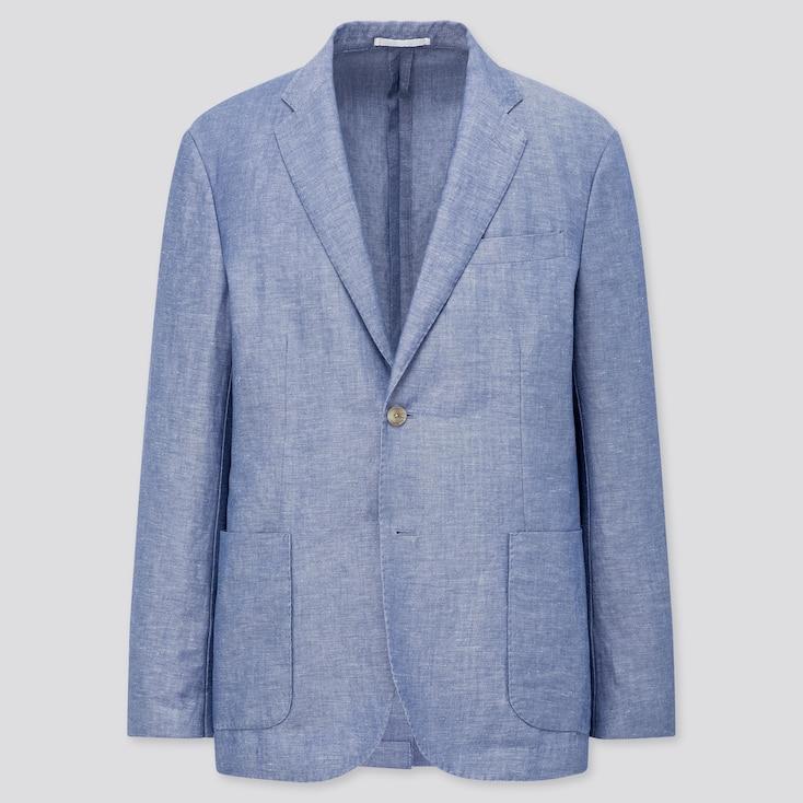 Men Linen Blended Jacket, Blue, Large
