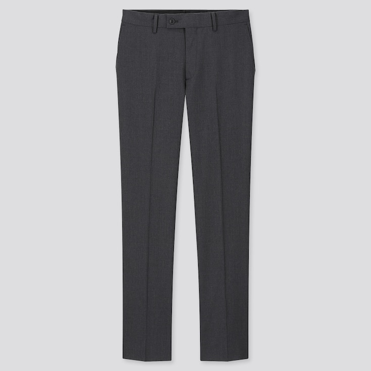 Men Stretch Wool Pants, Dark Gray, Large