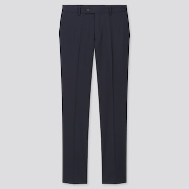 Men Stretch Wool Pants, Navy, Medium